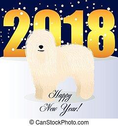 Happy new year card with komondor