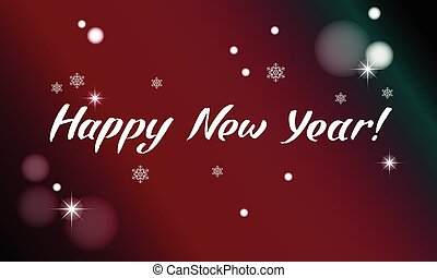Happy New Year card with lettering. Vector illustration