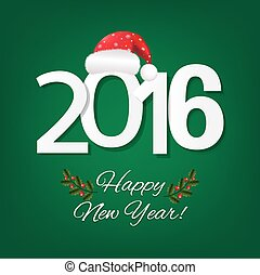 Happy New Year Card With Red Santa Hat