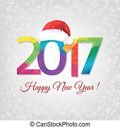 Happy New Year Card With Santa Cap