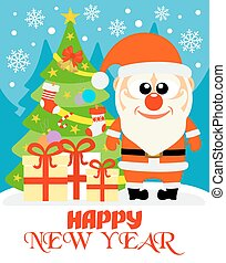 Happy New Year card with Santa Claus vector