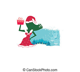 Happy New year card with Santa girl and winter landscape