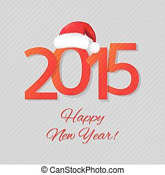 Happy New Year Card With Santa Hat