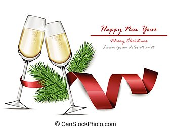 Happy New Year card with Two glasses of champagne Vector realistic