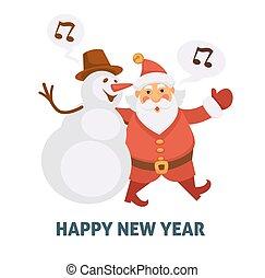 Happy New Year cartoon Santa and snowman singing Christmas song vector greeting card icon