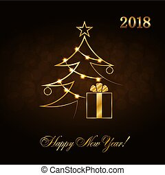 Happy New Year celebration abstract background with gold Xmas tree. Decorative golden gift box, balls, star. Simple sketch card, greeting. Shine light Merry Christmas decoration Vector illustration