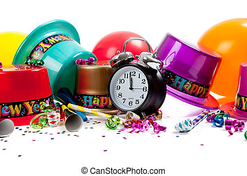 New Year's hats, noise makers, streamers, balloons, confetti and a black clock on a white background