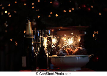 Happy new year! - Champagne, Dutch \'oliebollen\' a clock...