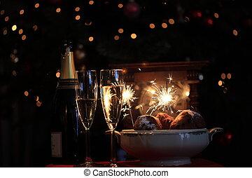 Happy new year! - Champagne, Dutch \'oliebollen\' a clock...