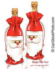 Happy New Year champagne gift card. Vector realistic Santa toy illustrations