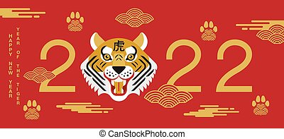 Happy new year, Chinese New Year, 2022, Year of the Tiger, cartoon character, royale tiger,  Flat design (Translate : Tiger )