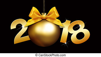 happy new year christmas ball with golden ribbon bow and 2018 text on black background