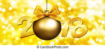 happy new year christmas ball with golden ribbon bow and 2018 text on golden blurred lights background