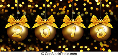 happy new year christmas balls with golden ribbon bow and 2018 text on golden blurred lights background