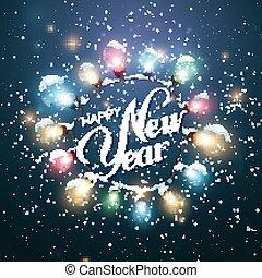 Happy New Year. Christmas Lights.
