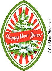 Happy New Year Christmas tree vector icon
