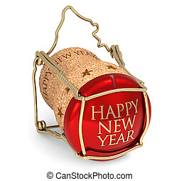 Happy New Year - champagne red cork isolated on white...