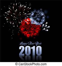 happy new year - red and blue vector fireworks - also...