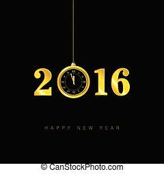 happy new year clock 2016 vector