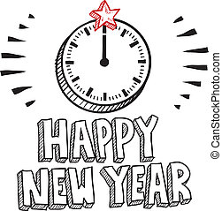 Happy New Year clock sketch - Doodle style Happy New Year...