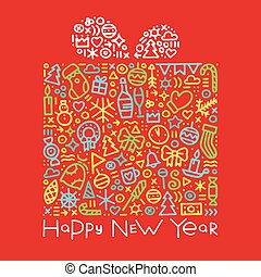 Happy new year colorful gift postcard vector illustration
