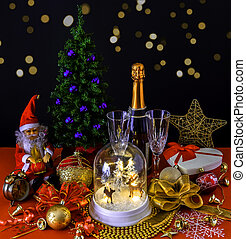 Happy New Year composition with Christmas tree, Santa Claus, Champagne, Gifts, ornaments