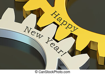 Happy New Year concept on the gearwheels, 3D rendering