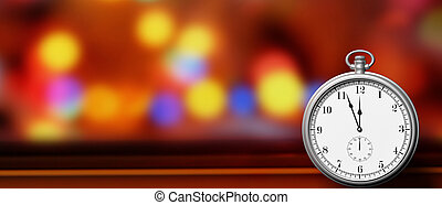 Pocket watch isolated on festive abstract background, copy space. 3d illustration