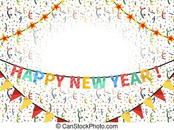 Happy new year congratulations template with text plate on background with balloons, buntings garlands and confetti