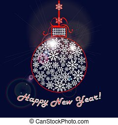Happy New Year congratulatory background. Christmas ball of snowflakes with a red ribbon on dark blue background with glare.