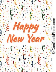 Happy New Year cover with exploding party popper, colorful serpentine and confetti on background