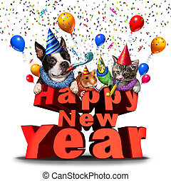 Happy New Year cute animals festive graphic element as a joyous celebration as adorable pets as a dog cat bird and hamster celebrating the season with 3D illustration elements.