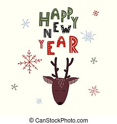 Happy New Year. Cute deer with snowflakes background.