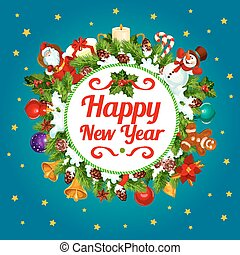 Happy New Year decoration vector greeting card