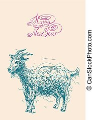 happy new year design card with goat or sheep, chinese lunar...