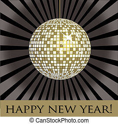 Disco ball fun happy new year card in vector format.