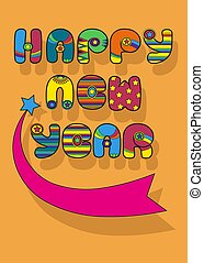Happy New Year. Disco font - Happy New Year. Inscription by...