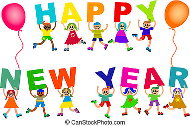 Happy New Year Diverse Kids Text