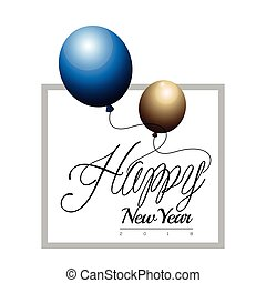 Happy new year poster with party balloons, Vector...