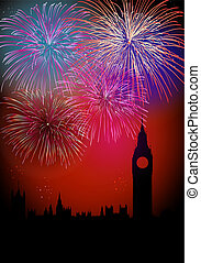 Happy New Year Englsih fireworks