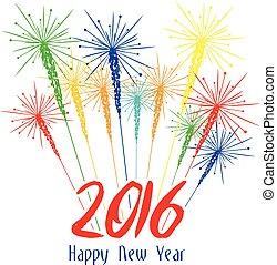 Happy new year fireworks 2016