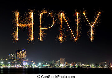 Happy New Year Fireworks celebrating over Pattaya beach