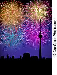 Happy New Year fireworks Germany landmark