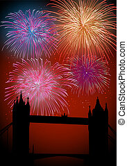 Happy New Year fireworks in England