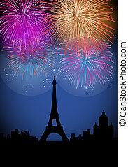 Happy New Year fireworks in France