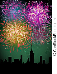 Happy New Year fireworks night city