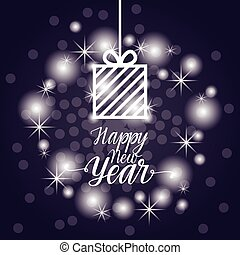 Happy New Year Flyer Design Present Box Over Blue Bokeh Background