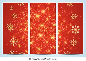 Happy New Year Flyers.  Red background  with golden snowflakes. Modern design vector template
