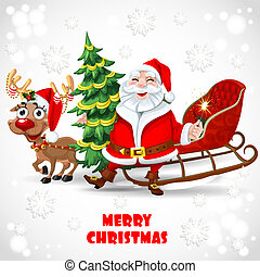 Santa Claus with reindeer pulling sleds