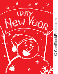 Happy New year from snowman